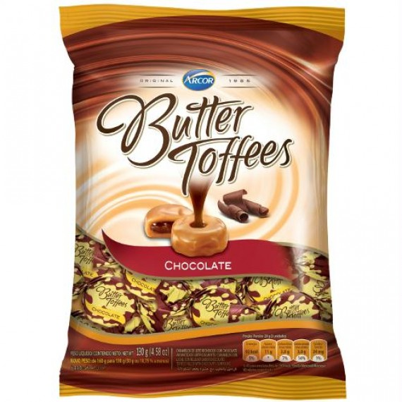 Bala Butter Toffees Chocolate Pacote 130g - Arcor