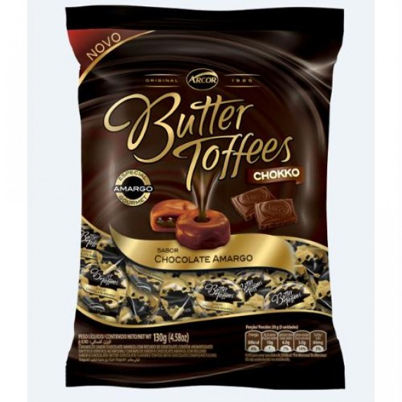 Bala Butter Toffees Chocolate Amargo Pacote 130g - Arcor