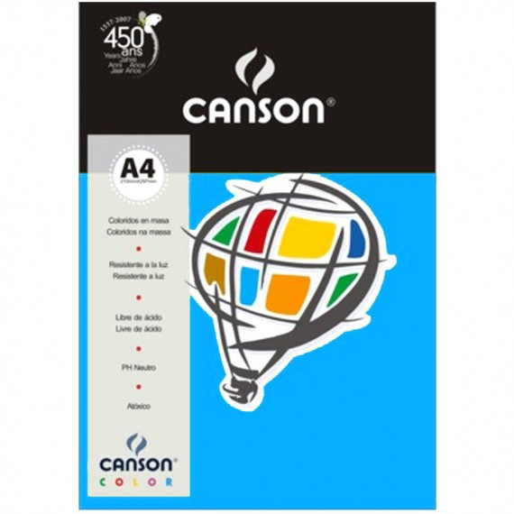 Papel A4 Color Plus Azul Royal 180g/m² com 10 fls - Canson