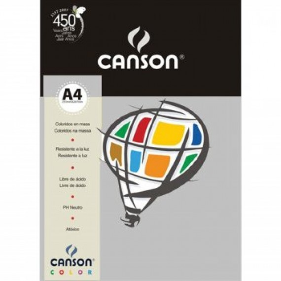 Papel A4 Color Plus Cinza 180g/m² com 10 fls - Canson
