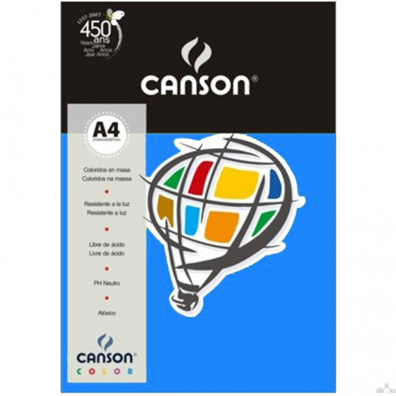 Papel A4 Color Plus Azul Mar 180g/m² com 10 fls - Canson